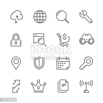 Icon Set of internet & web things on white background , Vector line design icon  The latest line design icon , Match the latest trends in design and creativity , It will help all of your graphic design & Mobile device & interface Design