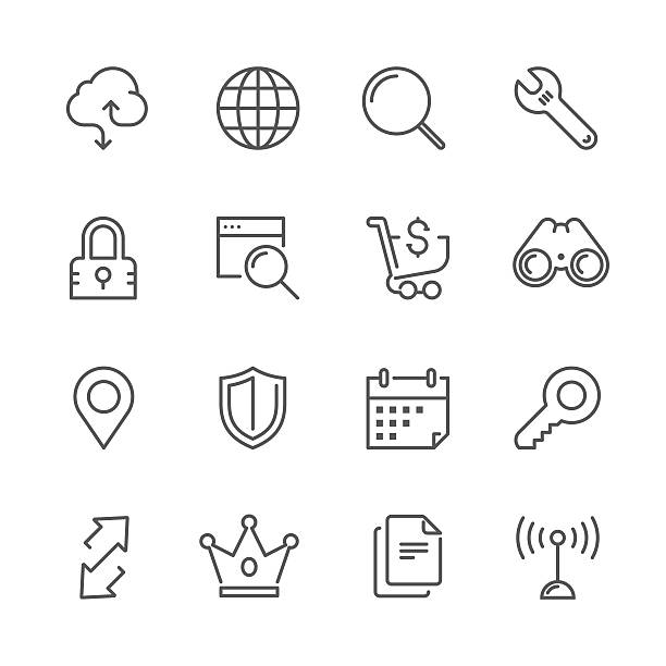 Set ofweb & internet concept | Line icon series Icon Set of internet & web things on white background , Vector line design icon  The latest line design icon , Match the latest trends in design and creativity , It will help all of your graphic design & Mobile device & interface Design  choosing stock illustrations