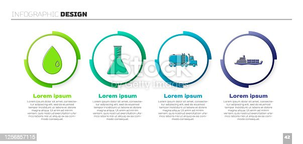 istock Set Oil drop, Oil petrol test tube, Tanker truck and Oil tanker ship. Business infographic template. Vector 1256857115