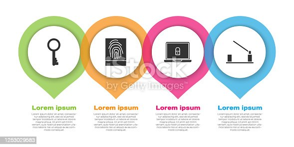 Set Old key, Fingerprint, Laptop and lock and Parking car barrier. Business infographic template. Vector