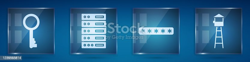 Set Old key, Server, Data, Web Hosting, Password protection and Watch tower. Square glass panels. Vector