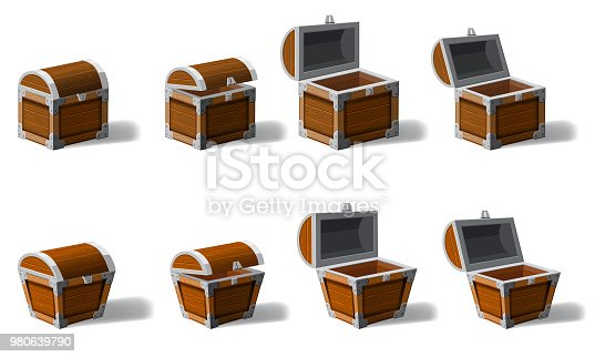 istock Set old pirate chests full of treasures, gold coins, vector, cartoon style, illustration, isolated. For games, advertising applications 980639790