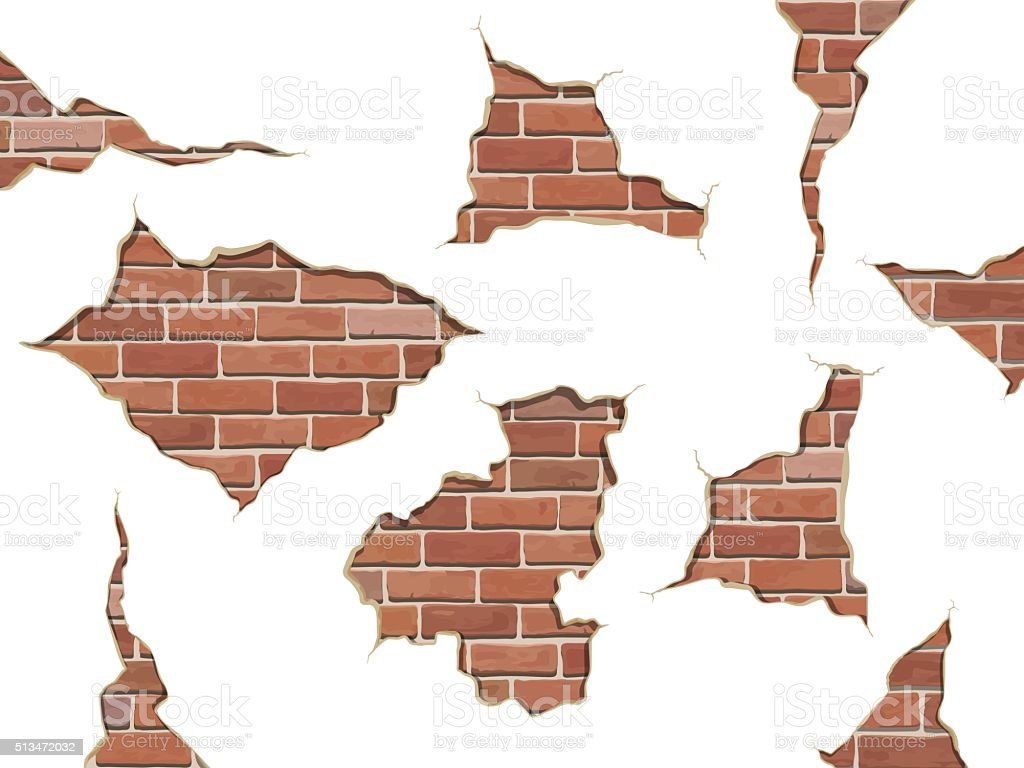 set old shabby concrete and brick cracks isolated vector art illustration