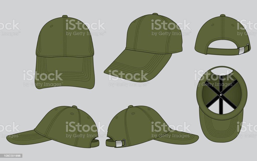 575c7505 Set Olive Green Baseball Cap Design Stock Vector Art & More Images ...