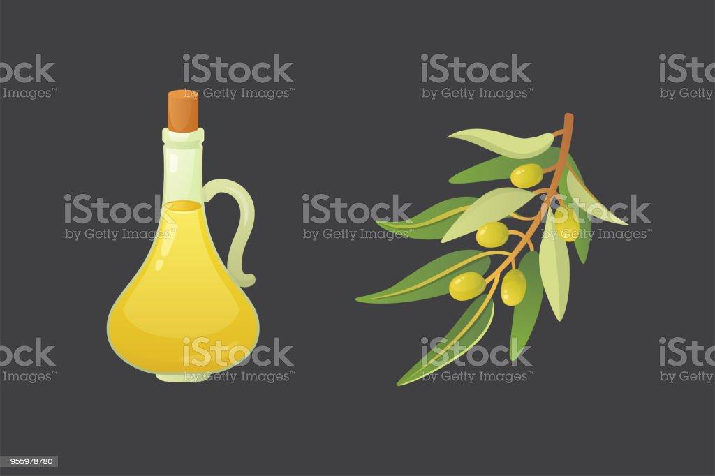 Set olives fruit. Olive oil bottle and branch vector illustration in cartoon style. vector art illustration