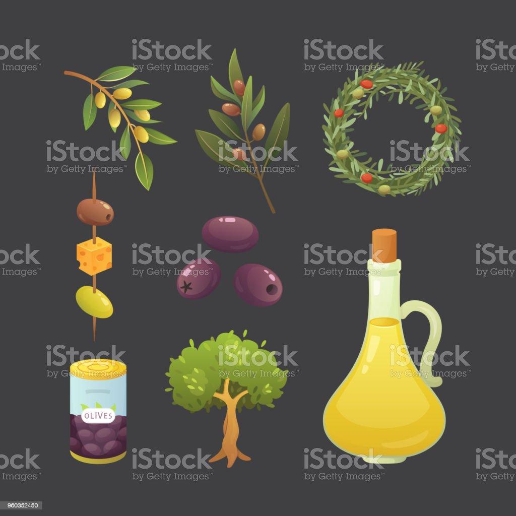 Set olives fruit. Olive oil bottle, branch, tree and rosemary wreath vector illustration in cartoon style. vector art illustration