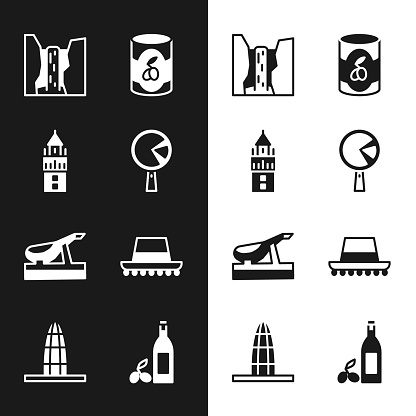 Set Omelette in frying pan, Giralda, Algar waterfall, Olives can, Spanish jamon, hat, Bottle of olive oil and Agbar tower icon. Vector