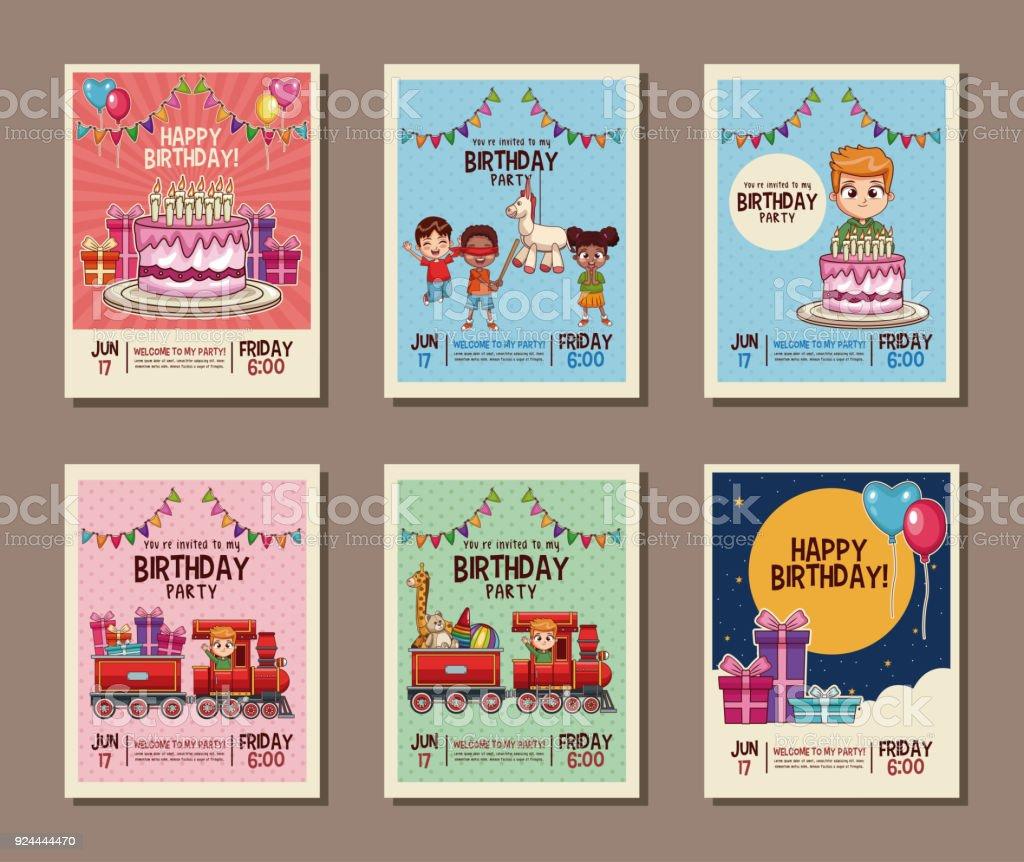 Set on birthday kids party invitation card arte vetorial de stock set on birthday kids party invitation card set on birthday kids party invitation card arte stopboris Choice Image