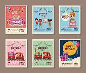 Set on birthday kids party invitation card vector illustration graphic design