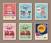 Set on birthday kids party invitation card