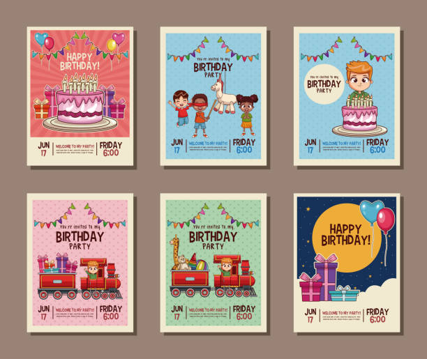 am geburtstag kinder party einladungskarte - baby party stock-grafiken, -clipart, -cartoons und -symbole