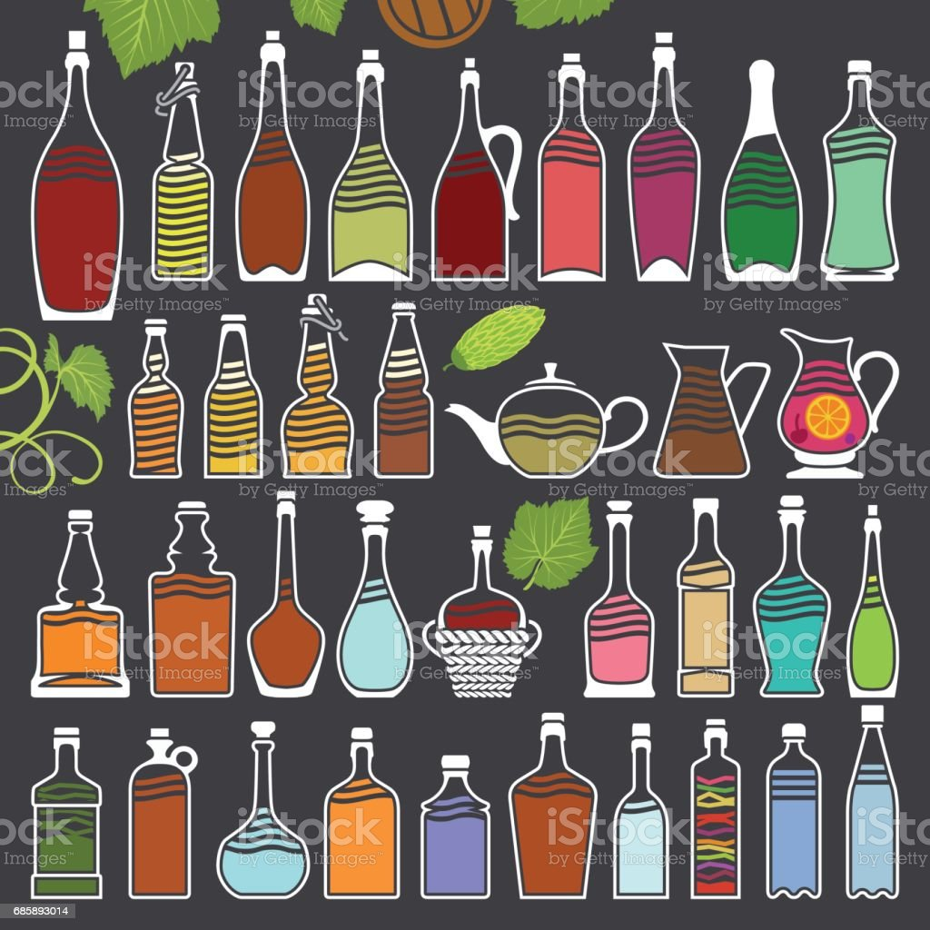 Set on Bottles Drawings vector art illustration