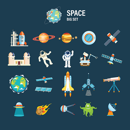 Set on space theme, including transport, planets and related objects