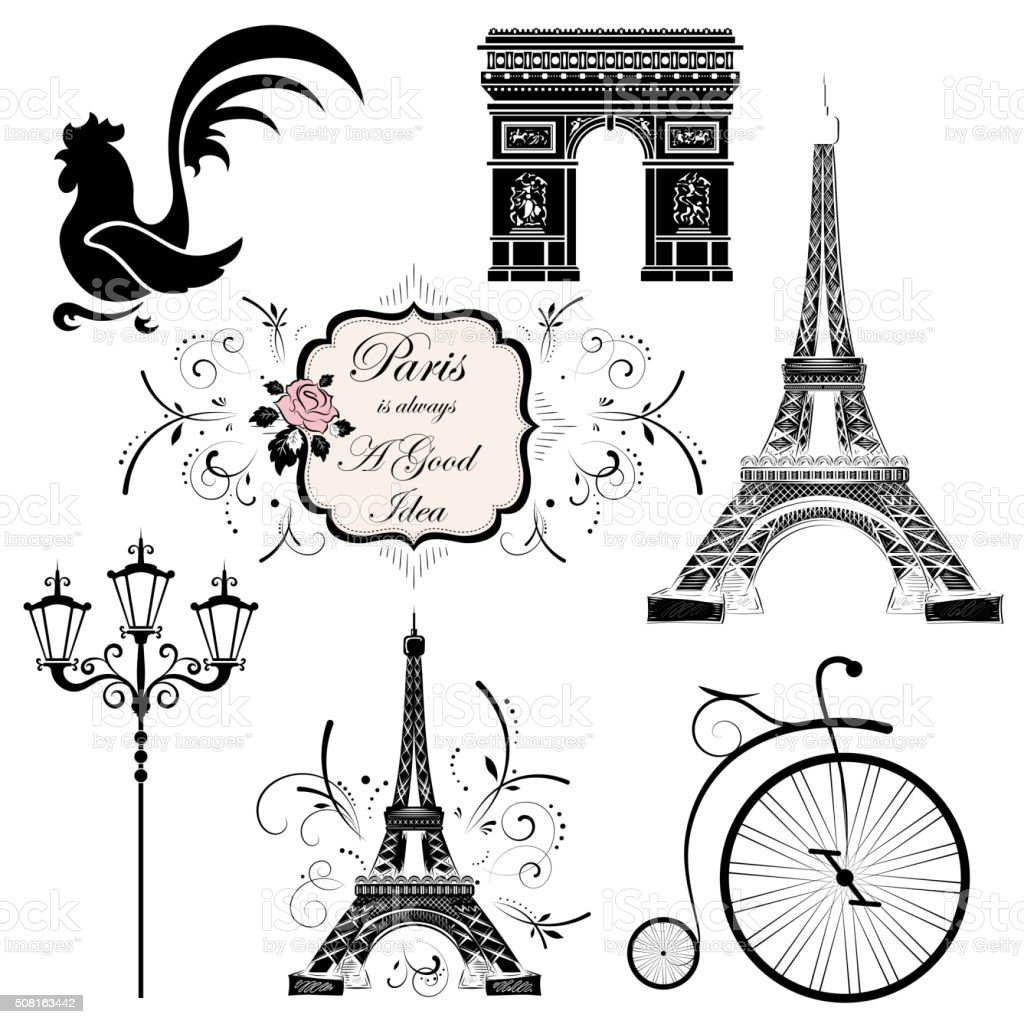 Set on the theme of France vector art illustration