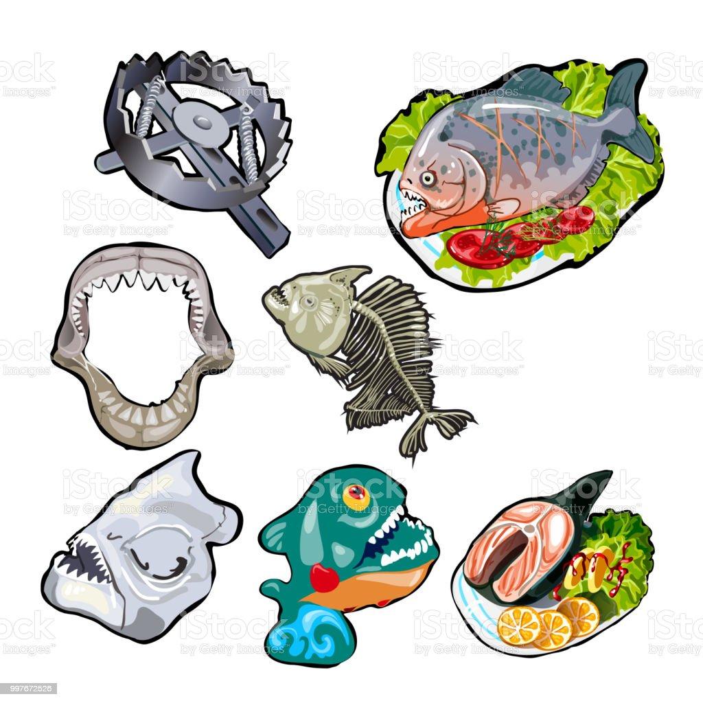 Ilustración de Conjunto Sobre El Tema De Peces Toothy Comidas De ...