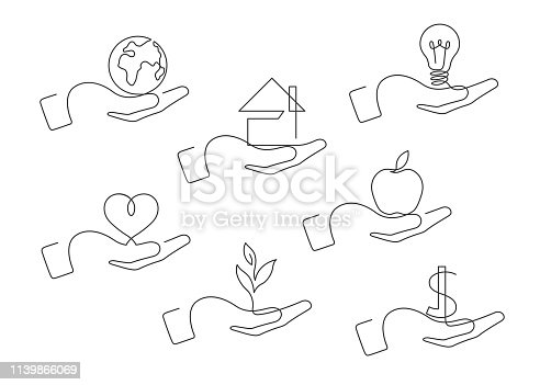 Continuous line drawing of hand gestures. Set of different gestures hand. Globe, house, lightbulb, heart,  plant, dollar, apple in hand. Vector illustration.