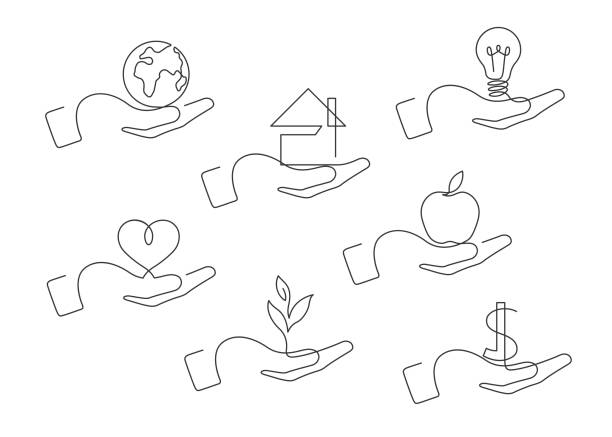 set one line hand Continuous line drawing of hand gestures. Set of different gestures hand. Globe, house, lightbulb, heart,  plant, dollar, apple in hand. Vector illustration. contour drawing stock illustrations