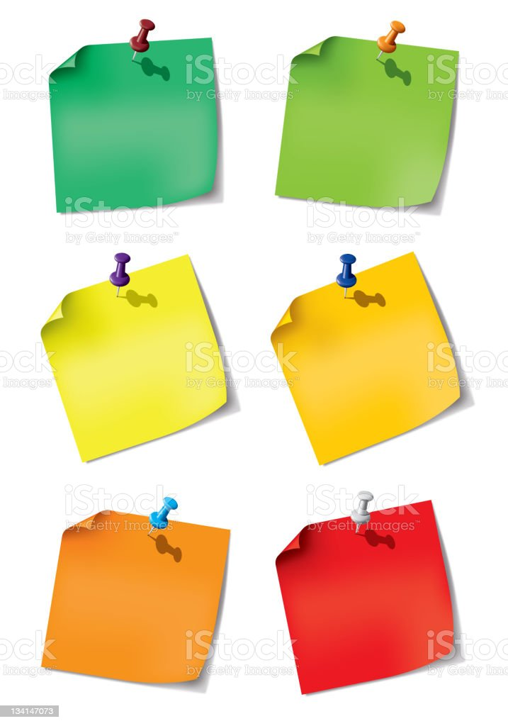 set one paper note with push pin royalty-free stock vector art