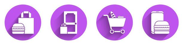 illustrazioni stock, clip art, cartoni animati e icone di tendenza di imposta la consegna di hamburger di ordinazione online, l'ordinazione e la consegna online, il carrello della spesa e il cibo e l'icona di ordinazione e consegna online con ombra lunga. vettore - grocery home