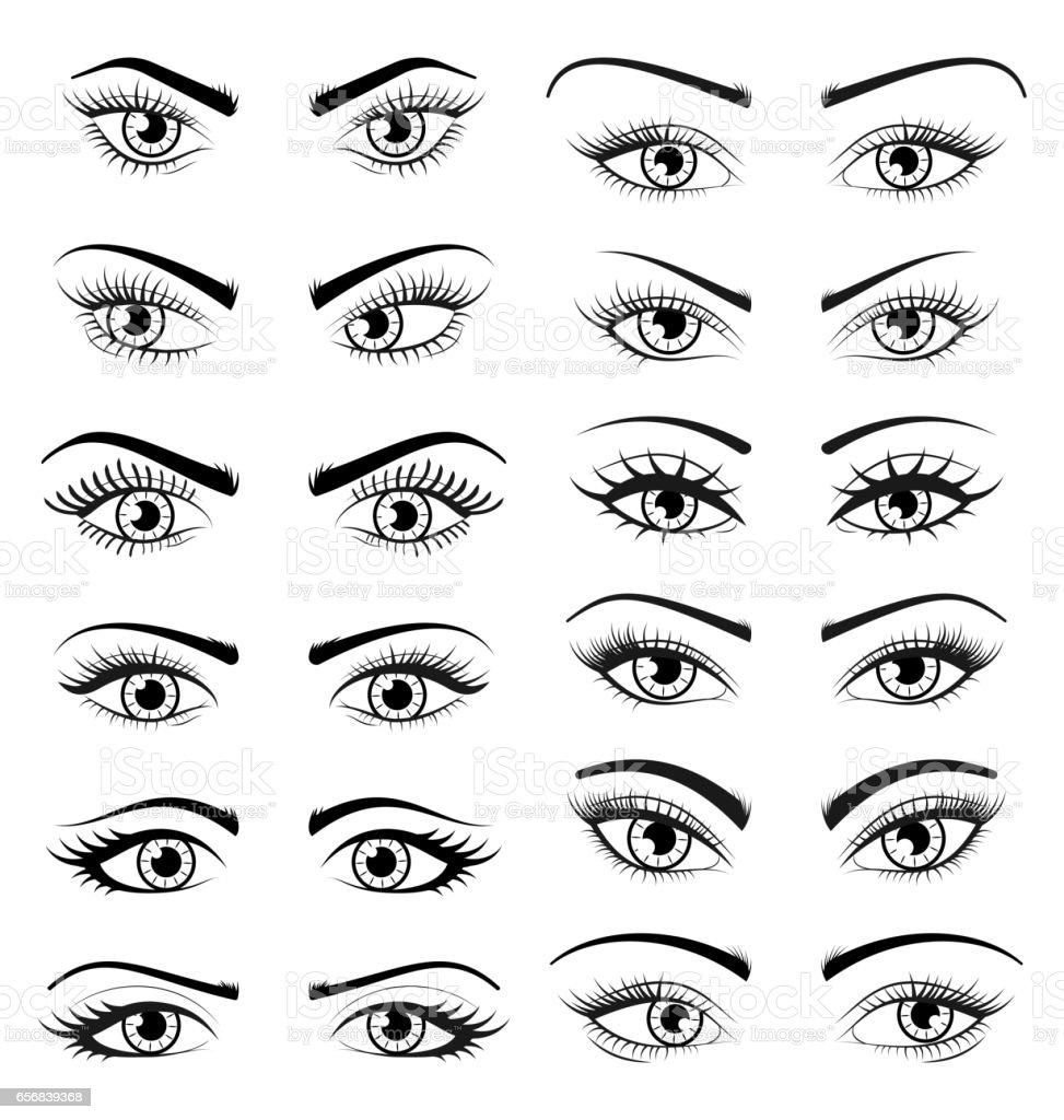 Legen Sie Offenere Schöne Weiblichen Augen Isolated On White ...