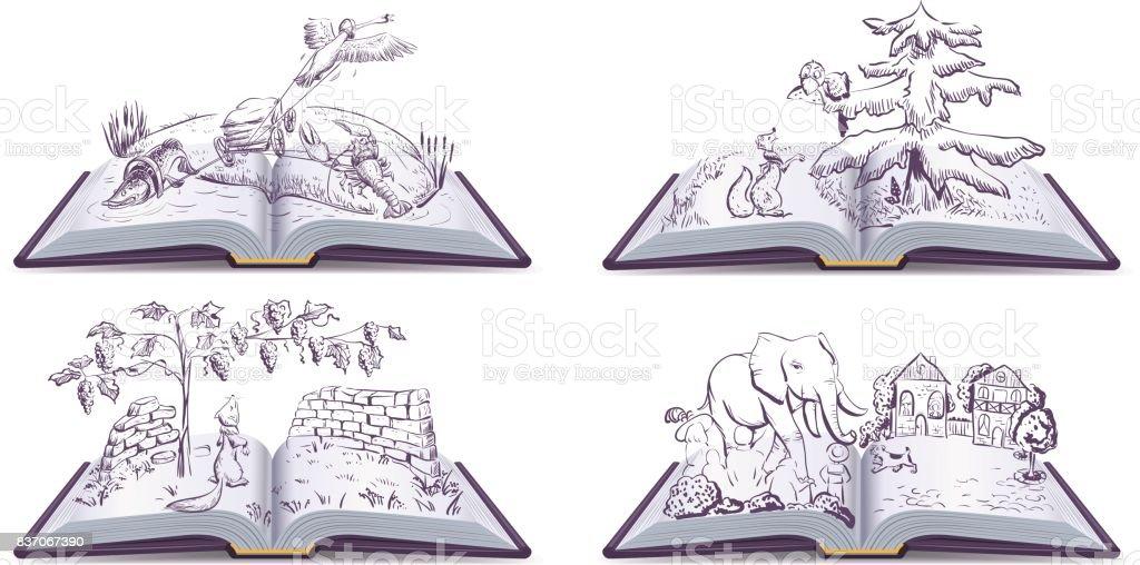 Set open book fable illustration vector art illustration