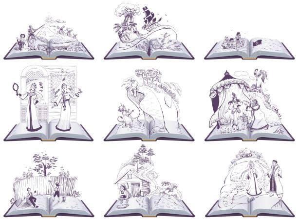 Set open book fairy tale illustration. Set of books to read at school Set open book fairy tale illustration. Set of books to read at school. Isolated on white vector cartoon illustration adventure drawings stock illustrations