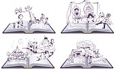 Set Open book illustration tale story of Pinocchio, Cipollino, Alladin and Puss in Boots. Vector cartoon