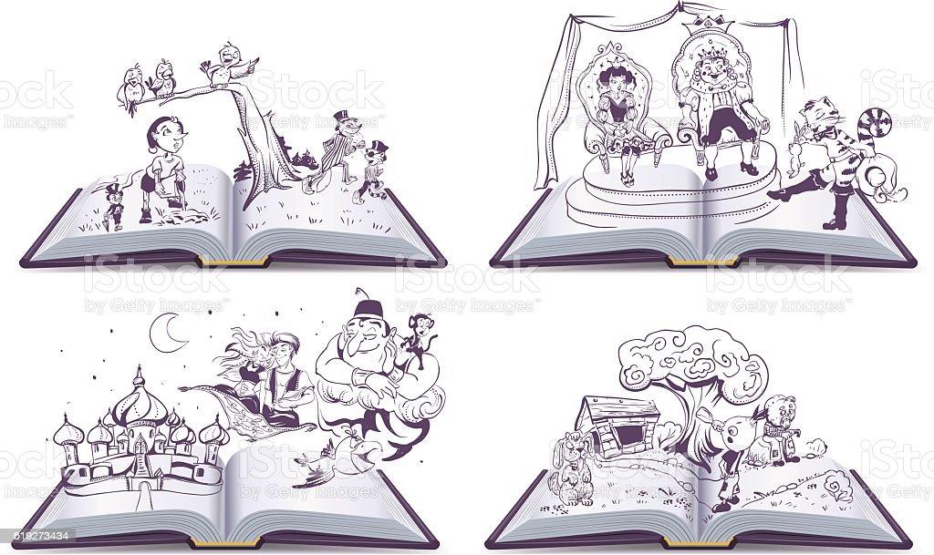 Set Open book illustration tale story of Pinocchio, Cipollino, Alladin vector art illustration