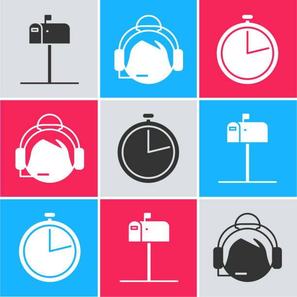 stockillustraties, clipart, cartoons en iconen met stel de postvak openen , ondersteuningsoperator in contact en stopwatchpictogram in. vector - call center