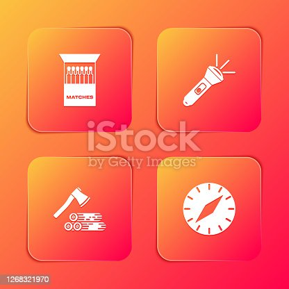 Set Open matchbox and matches, Flashlight, Wooden axe wood and Compass icon. Vector.