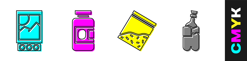 Set Open matchbox and matches, Medicine bottle and pills, Plastic bag of drug and Bong for smoking marijuana icon. Vector