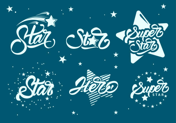 set or collection of super stars s with lettering. hero. vector illustration design. - celebryci stock illustrations