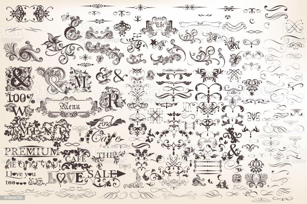 Ensemble ou la collection d'éléments calligraphiques vectoriels et décorations de la page - Illustration vectorielle