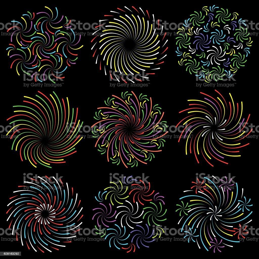 Set or colorful fireworks vector art illustration