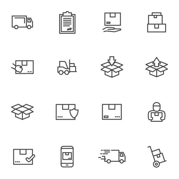 illustrazioni stock, clip art, cartoni animati e icone di tendenza di set order and courier delivery goods, courier service, warehouse vector icons - ordine