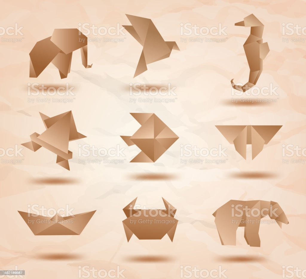 Set origami animals symbols recycled paper royalty-free stock vector art
