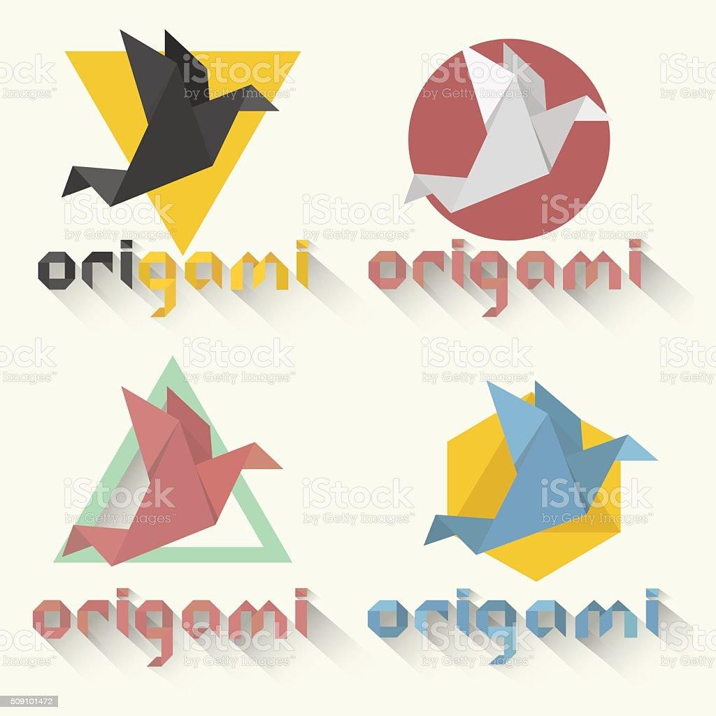 Set Origami Bird Logo At Different Color Variationsvector Illustration Royalty Free