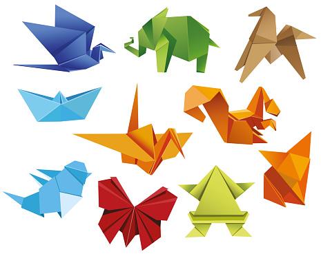 Set origami butterfly, crane, frog, elephant, horse, ship, sparrow, fox, squirrel