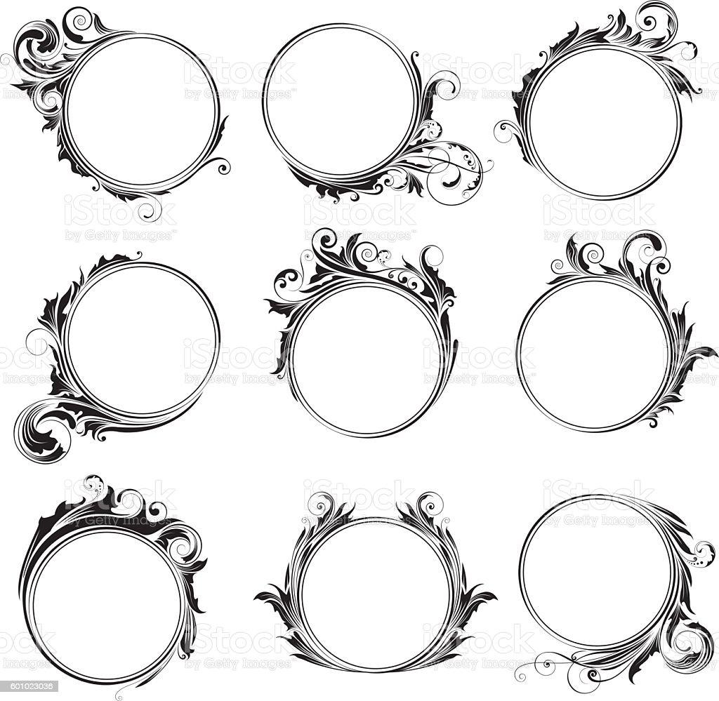 Set ornamental circle frames vector art illustration