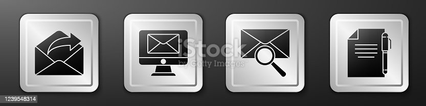 Set Outgoing mail, Monitor and envelope, Envelope with magnifying glass and Document and pen icon. Silver square button. Vector