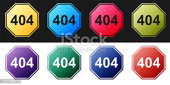 istock Set Page with a 404 error icon isolated on black and white background. Template reports that the page is not found. Vector 1271533779