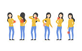 Set of character woman with pain in different parts of the body. Backache, cubit, knee, neck, lower back, shoulder. Flat vector illustration.