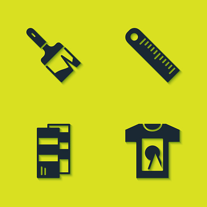 Set Paint brush, T-shirt, Pantone and Ruler icon. Vector