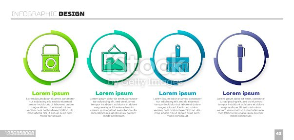 istock Set Paint bucket, Picture landscape, Paint brush and Pen. Business infographic template. Vector 1256858068