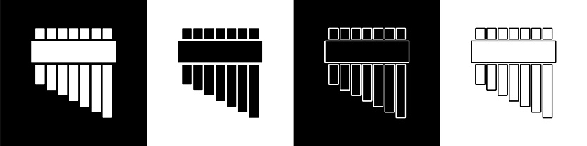 Set Pan flute icon isolated on black and white background. Traditional peruvian musical instrument. Zampona. Folk instrument from Peru, Bolivia and Mexico. Vector.