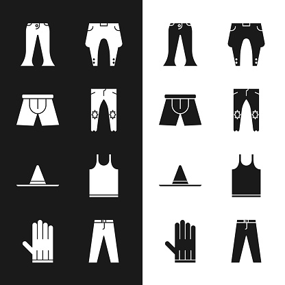 Set Pants, Men underpants, Gardener worker hat, Sleeveless T-shirt, and Leather glove icon. Vector