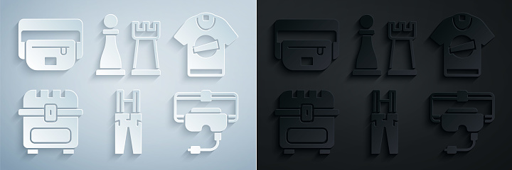 Set Pants with suspenders, T-shirt, Antique treasure chest, Virtual reality glasses, Chess and Waist bag of banana icon. Vector