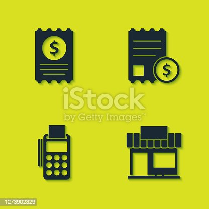 Set Paper check and financial check, Shopping building or market store, POS terminal with credit card and icon. Vector.
