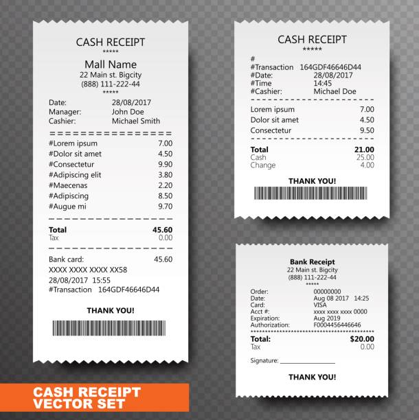 illustrazioni stock, clip art, cartoni animati e icone di tendenza di set paper check, reciept and financial-check isolated on transparent background. printed receipt records sale of goods or provision of a service. bill atm template with barcode. vector illustration - scontrino fiscale