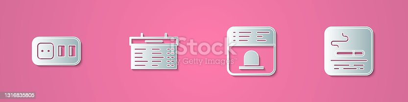 istock Set paper cut Electrical outlet, Train station board, Ticket office to buy tickets and Smoking area icon. Paper art style. Vector 1316835805